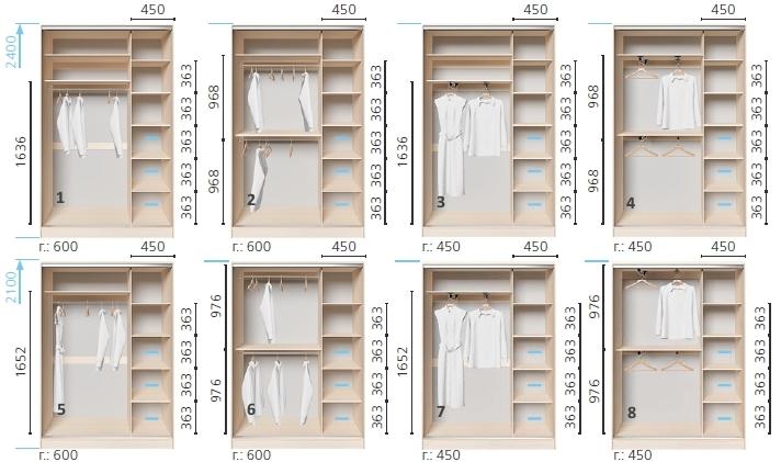 Варианты корпуса 2-х дверного шкафа, шириной 1800 мм