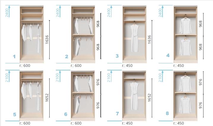Варианты корпуса 2-х дверного шкафа, шириной 900 мм