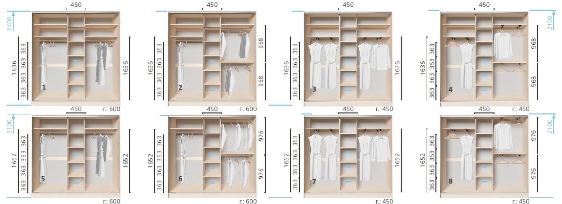 Варианты корпуса 3-х дверного шкафа, шириной 1800 мм