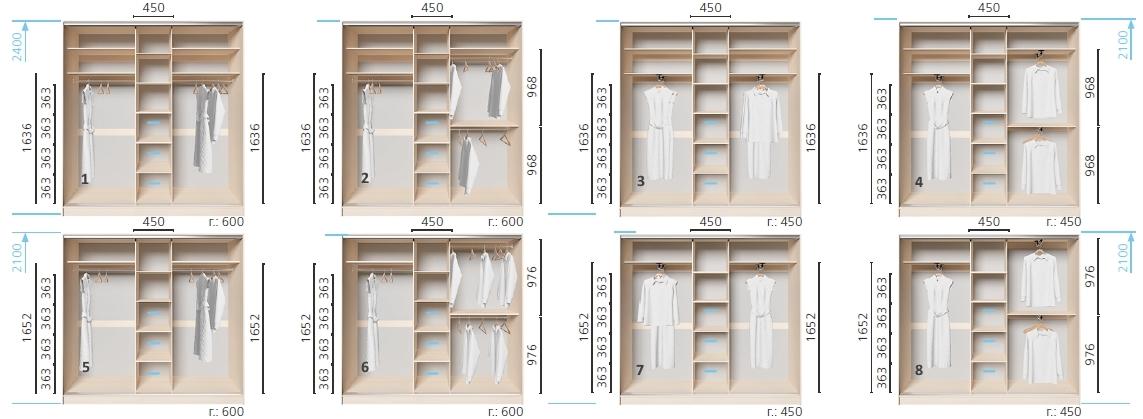 Варианты корпуса 3-х дверного шкафа, шириной 2000 мм