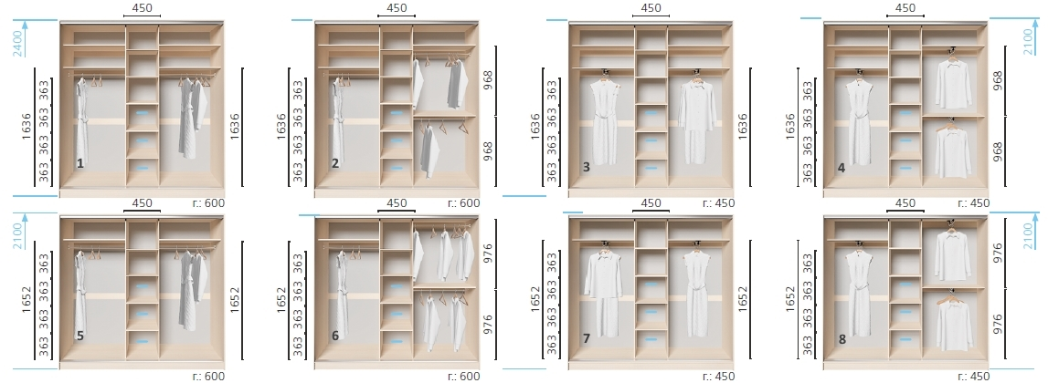 Варианты корпуса 3-х дверного шкафа, шириной 2100 мм