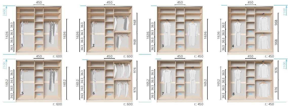 Варианты корпуса 3-х дверного шкафа, шириной 2200 мм