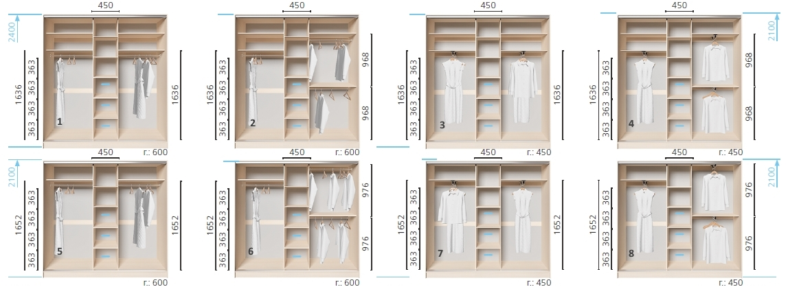 Варианты корпуса 3-х дверного шкафа, шириной 2300 мм