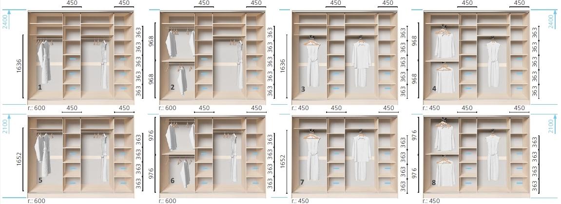 Варианты корпуса 4-х дверного шкафа, шириной 2400 мм