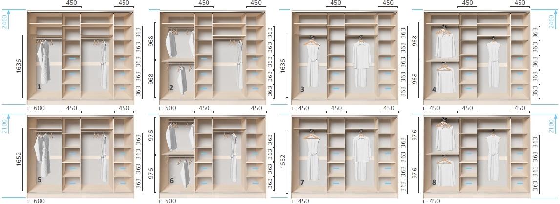 Варианты корпуса 4-х дверного шкафа, шириной 2500 мм