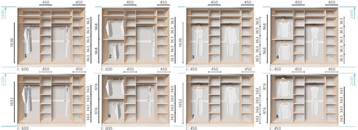Варианты корпуса 4-х дверного шкафа, шириной 2600 мм