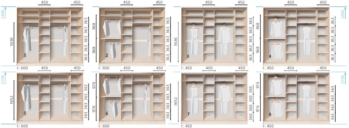 Варианты корпуса 4-х дверного шкафа, шириной 2700 мм