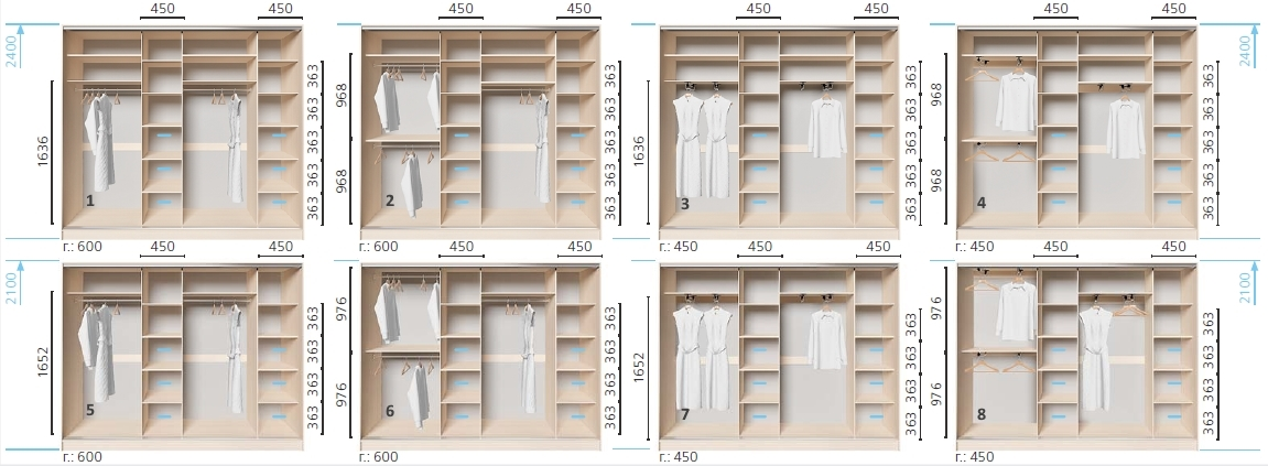 Варианты корпуса 4-х дверного шкафа, шириной 2800/3000/3200/3400/3600 мм