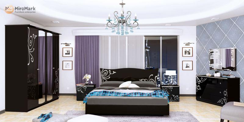 Спальня Богема Миромарк чёрный глянец