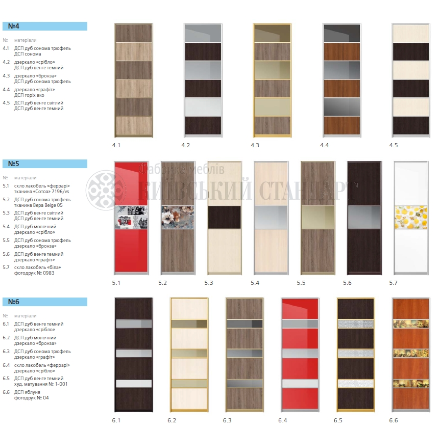 Варианты фасадов для шкафа-купе Виант