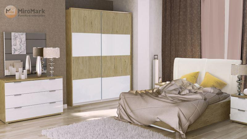 Спальня Верона Миромарк глянец белый-дуб сан марино