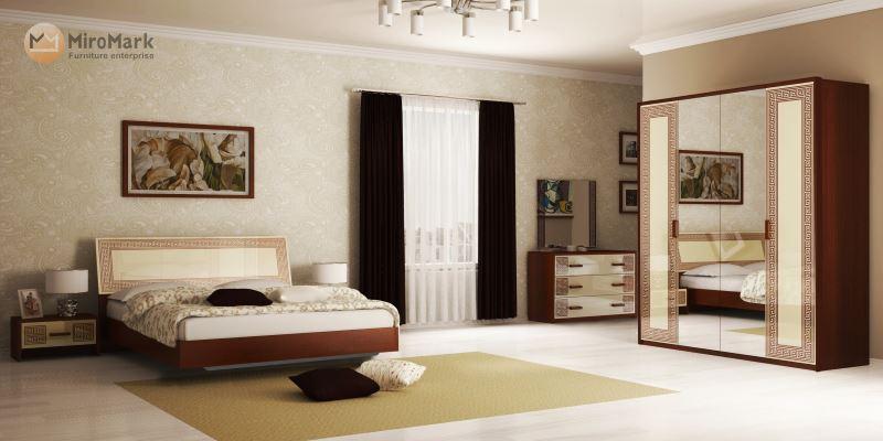 Спальня Виола глянец ваниль - вишня бюзум