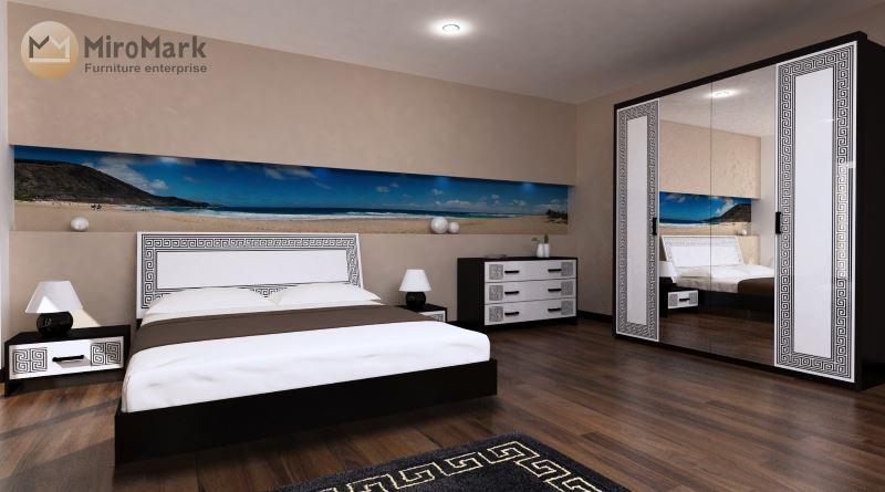 Спальня Виола белый глянец-чёрный мат
