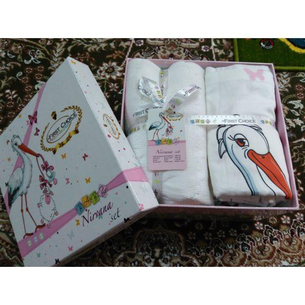 Постель детская в кроватку Stork Pembe Бамбук First Choice с вязанным пледом