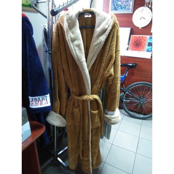 Мужской халат America Софт коричневый 4XL