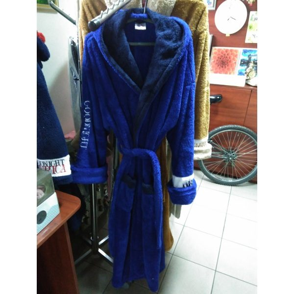 Мужской халат America Софт синий 3XL