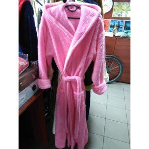 Женский халат розовый 2XL (длинный с капюшоном)