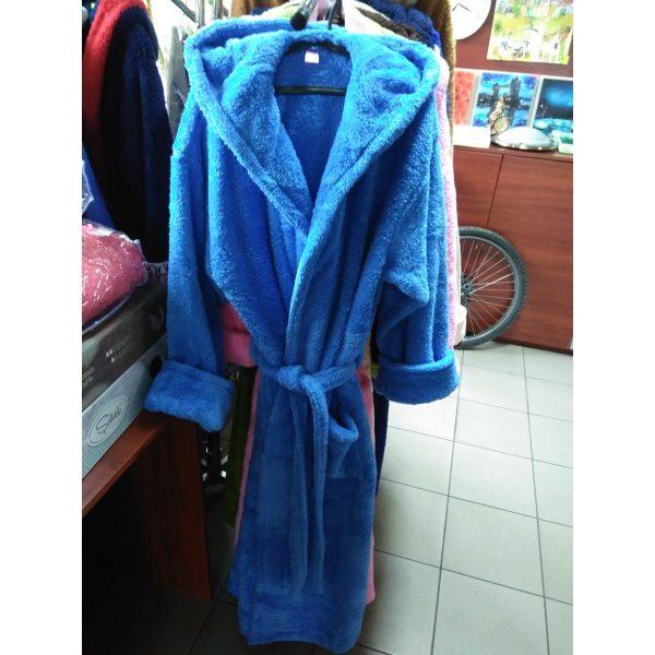 Женский халат синий L-XL (длинный с капюшоном)