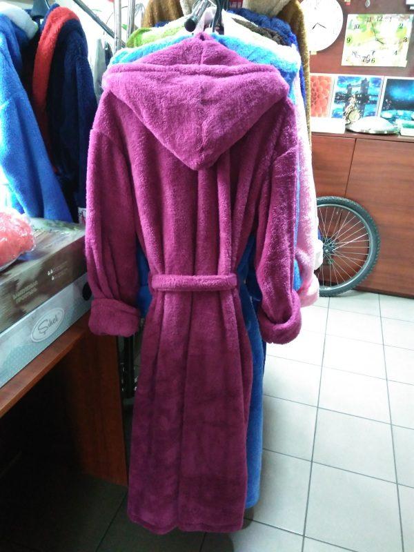 Женский халат фиолетовый S-M (длинный с капюшоном)