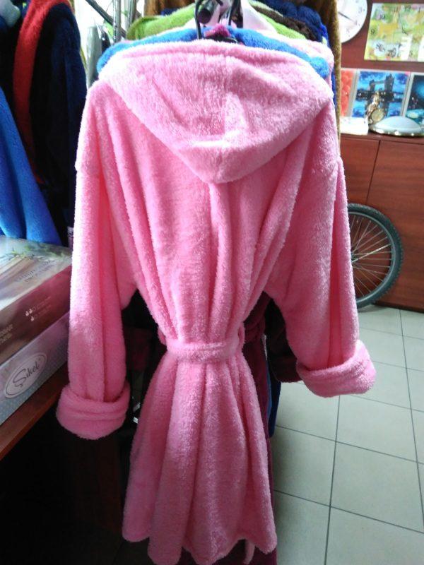 Женский халат розовый L-XL (короткий с капюшоном)