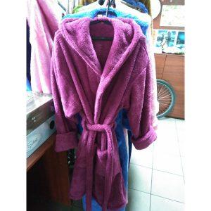 Женский халат фиолетовый L-XL (короткий с капюшоном)