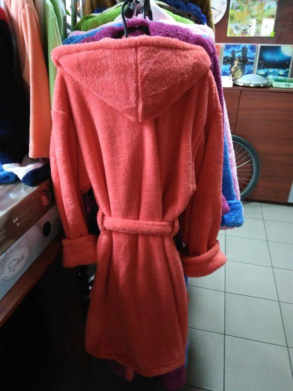 Женский халат коралловый S-M (короткий с капюшоном)