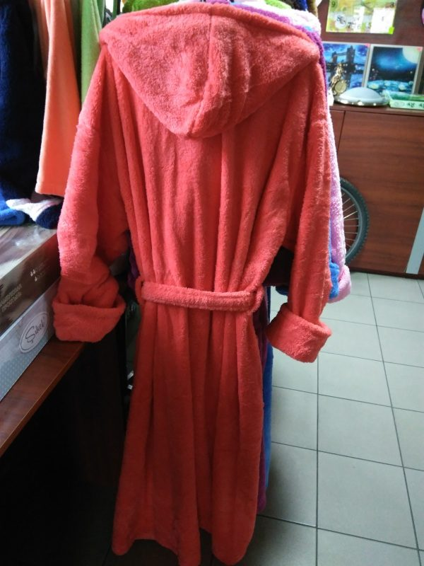 Женский халат коралловый 2XL (длинный с капюшоном)