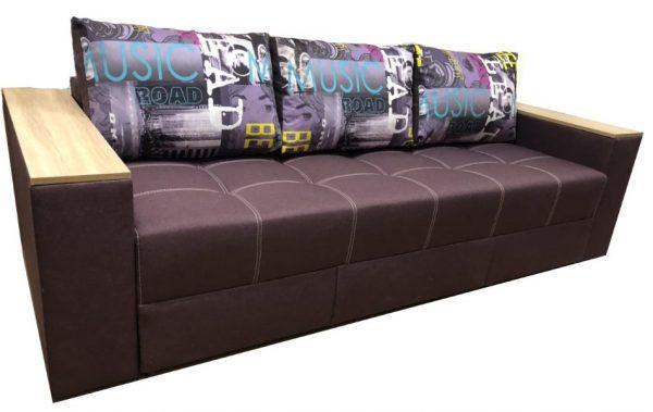 Диван Комфорт, ткань Саванна Violet 17, подушки Music