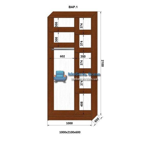 2-х дверный шкаф-купе MN 106-1 (100x60x210)