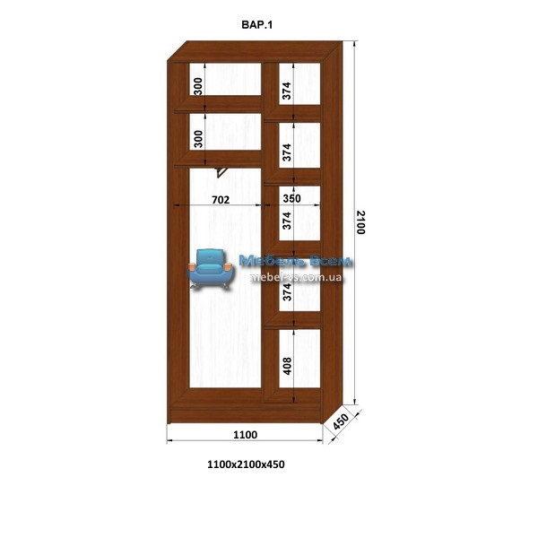 2-х дверный шкаф-купе MN 114-1 (110x45x210)