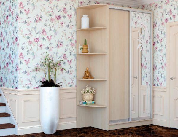 Двухдверный шкаф купе ДСП дуб молочный, фасад ДСП + фасад художественное матирование рисунок №63, система серебро