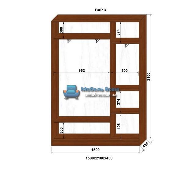 2-х дверный шкаф-купе MN 154-3 (150x45x210)