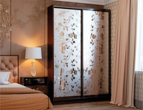 Двухдверный шкаф купе, цвет орех болонья тёмный, система венге, фасады - зеркало с художественным матированием №583