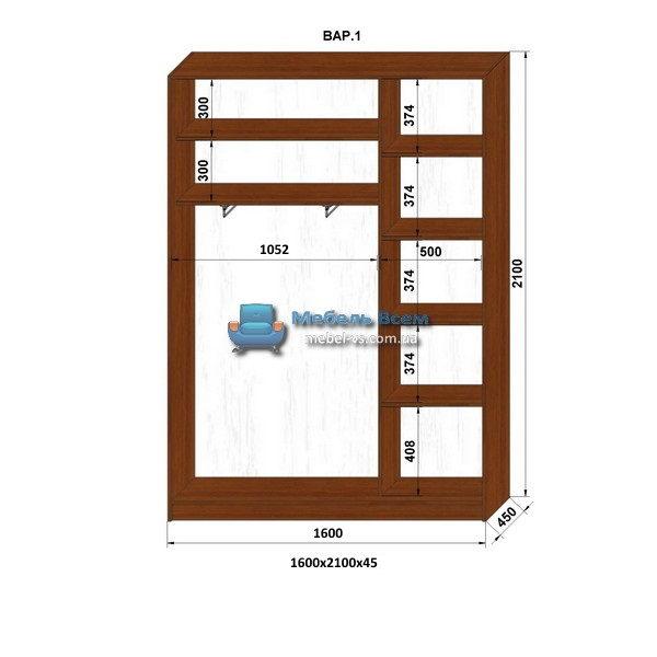 2-х дверный шкаф-купе MN 164-1 (160x45x210)