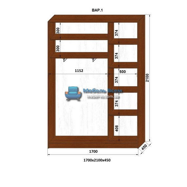 2-х дверный шкаф-купе MN 174-1 (170x45x210)