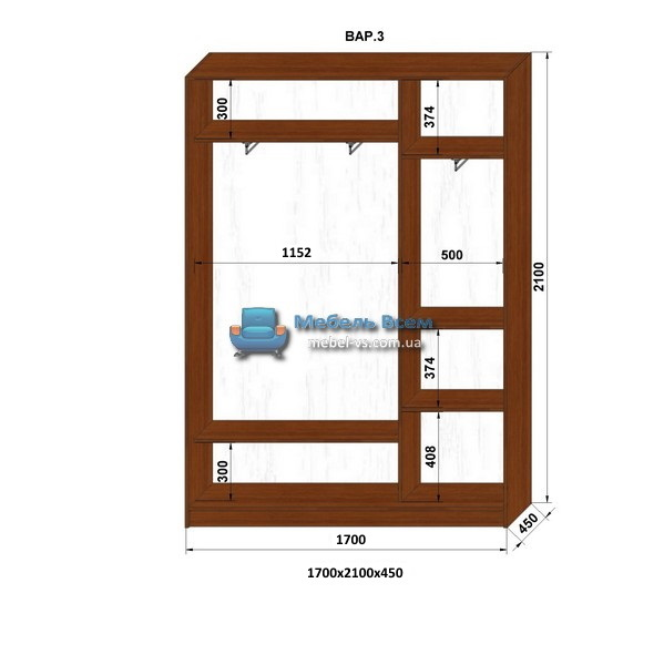 2-х дверный шкаф-купе MN 174-3 (170x45x210)