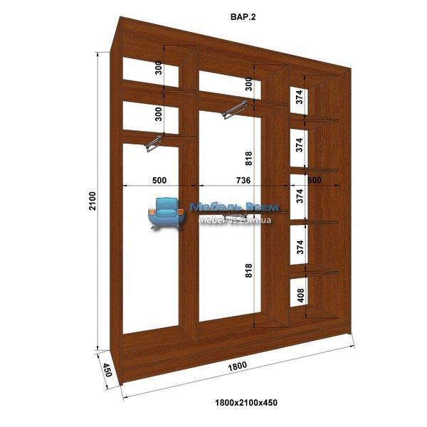 3-х дверный шкаф-купе MN 184-2 (180x45x210)