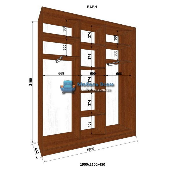 3-х дверный шкаф-купе MN 194-1 (190x45x210)