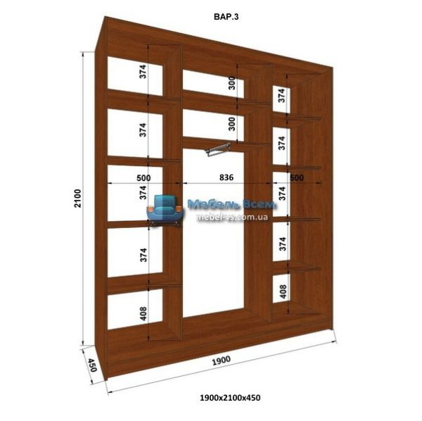 3-х дверный шкаф-купе MN 194-3 (190x45x210)