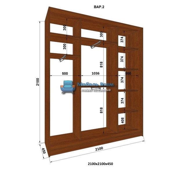 3-х дверный шкаф-купе MN 214-2 (210x45x210)