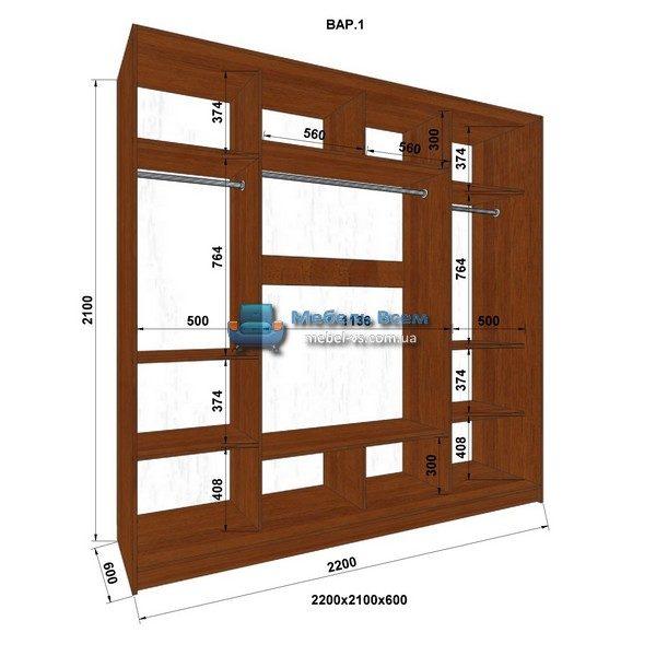 3-х дверный шкаф-купе MN 226-1 (220x60x210)