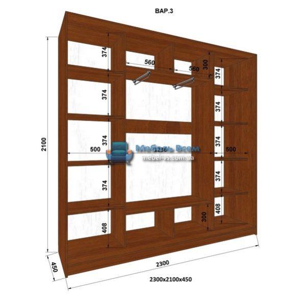 3-х дверный шкаф-купе MN 234-3 (230x45x210)