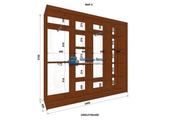 4-х дверный шкаф-купе MN 244-2 (240x45x210)