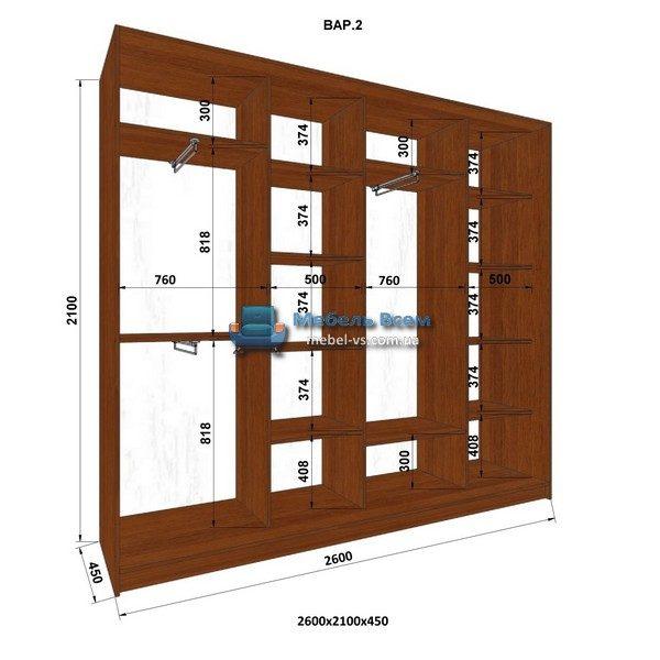 4-х дверный шкаф-купе MN 264-2 (260x45x210)