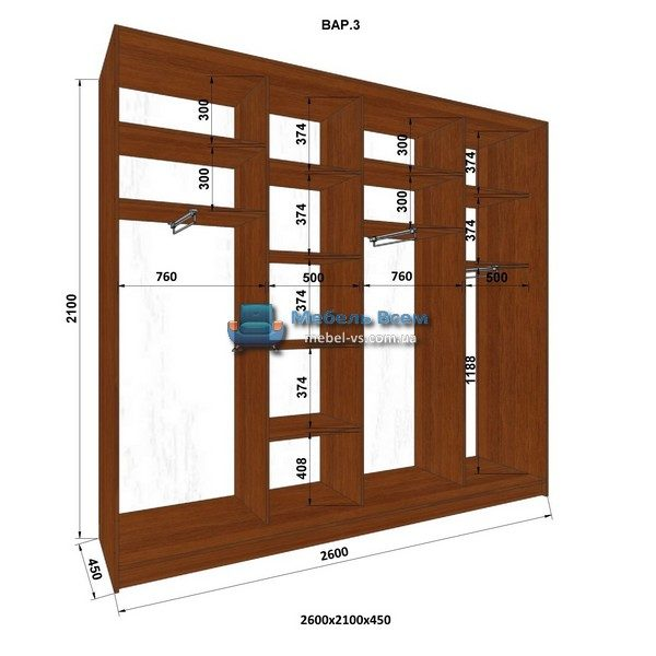 4-х дверный шкаф-купе MN 264-3 (260x45x210)