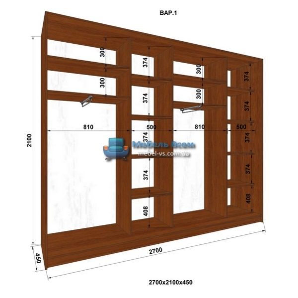 4-х дверный шкаф-купе MN 274-1 (270x45x210)