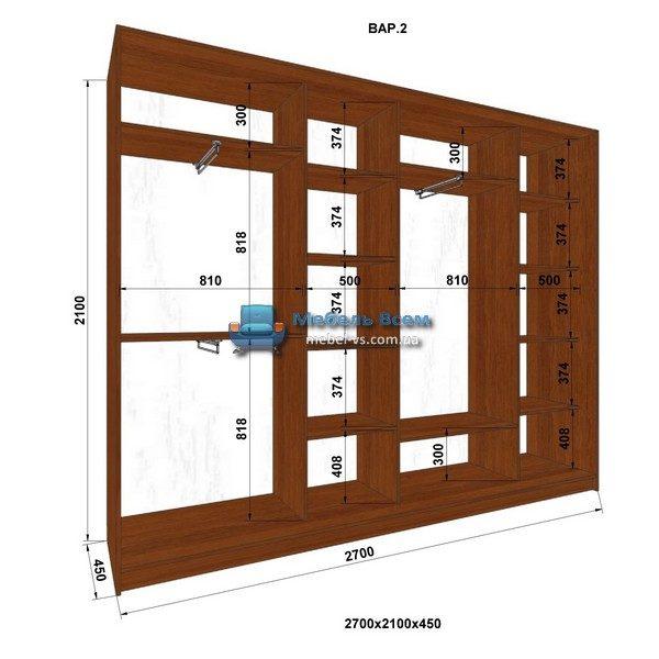 4-х дверный шкаф-купе MN 274-2 (270x45x210)