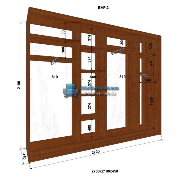 4-х дверный шкаф-купе MN 274-3 (270x45x210)
