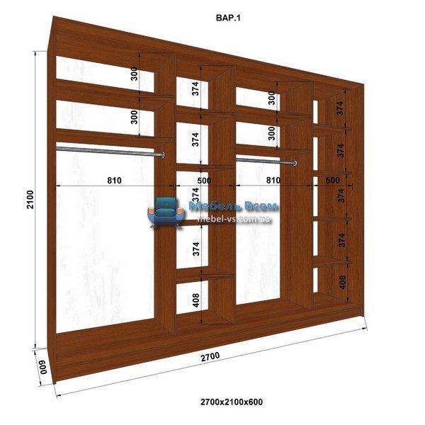 4-х дверный шкаф-купе MN 276-1 (270x60x210)