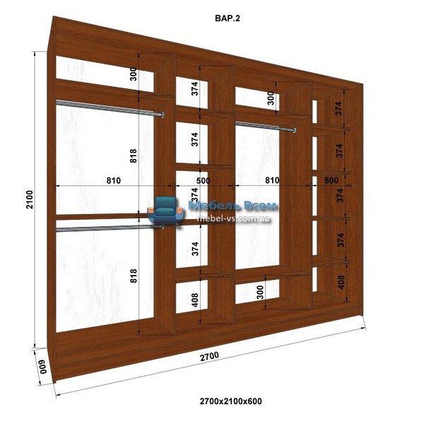 4-х дверный шкаф-купе MN 276-2 (270x60x210)
